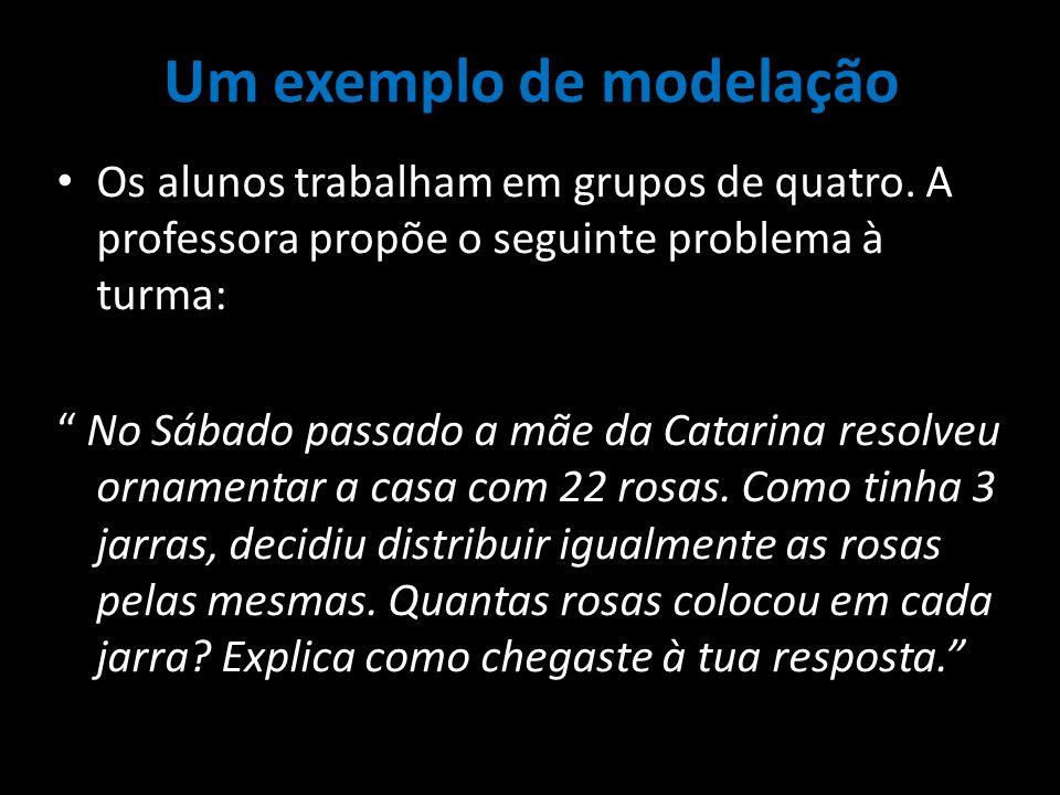 Um exemplo de modelação Os alunos trabalham em grupos de quatro. A professora propõe o seguinte problema à turma: No Sábado passado a mãe da Catarina