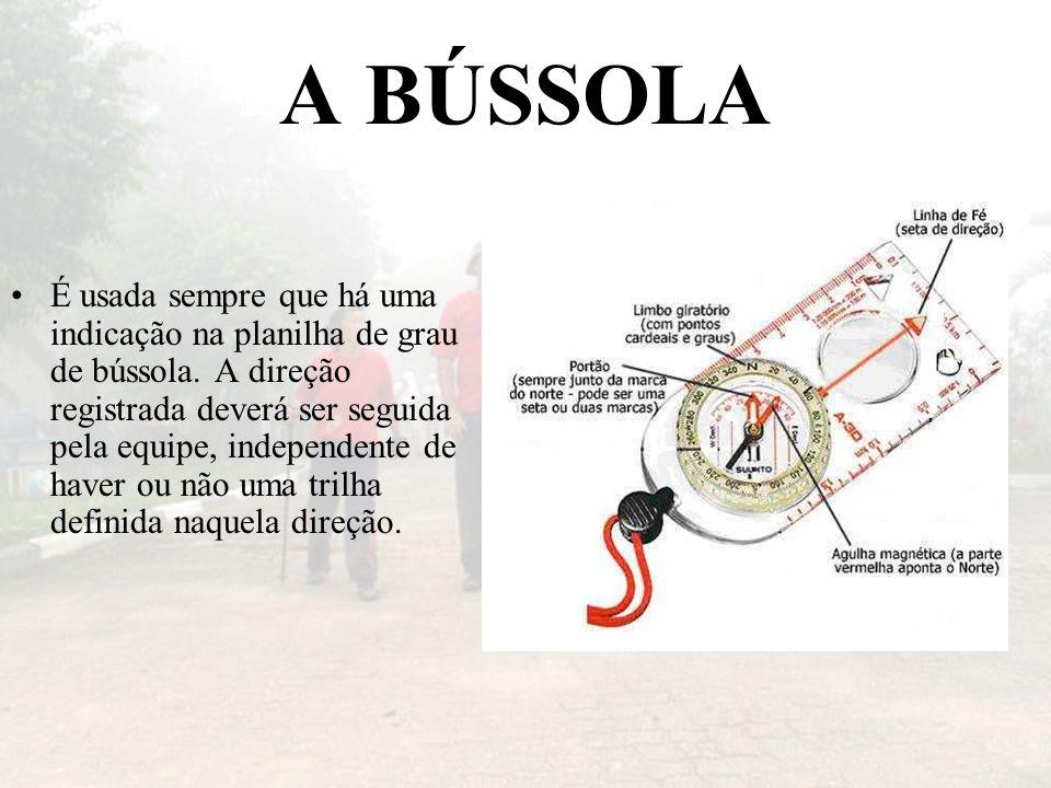 A BÚSSOLA É usada sempre que há uma indicação na planilha de grau de bússola. A direção registrada deverá ser seguida pela equipe, independente de hav