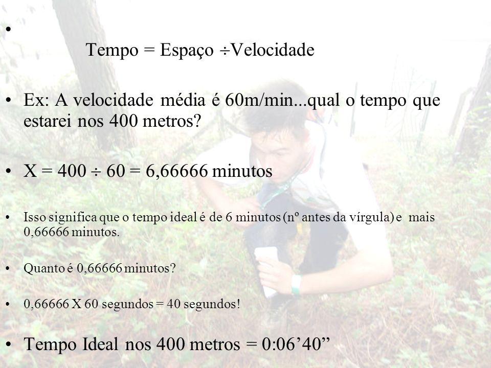 Tempo = Espaço Velocidade Ex: A velocidade média é 60m/min...qual o tempo que estarei nos 400 metros? X = 400 60 = 6,66666 minutos Isso significa que