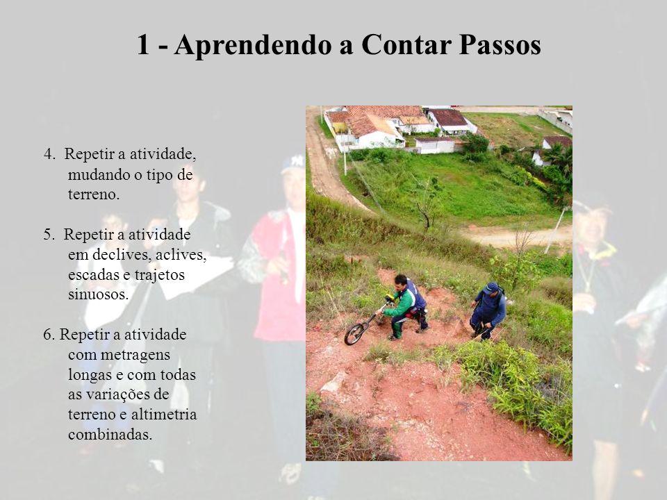 4. Repetir a atividade, mudando o tipo de terreno. 5. Repetir a atividade em declives, aclives, escadas e trajetos sinuosos. 6. Repetir a atividade co