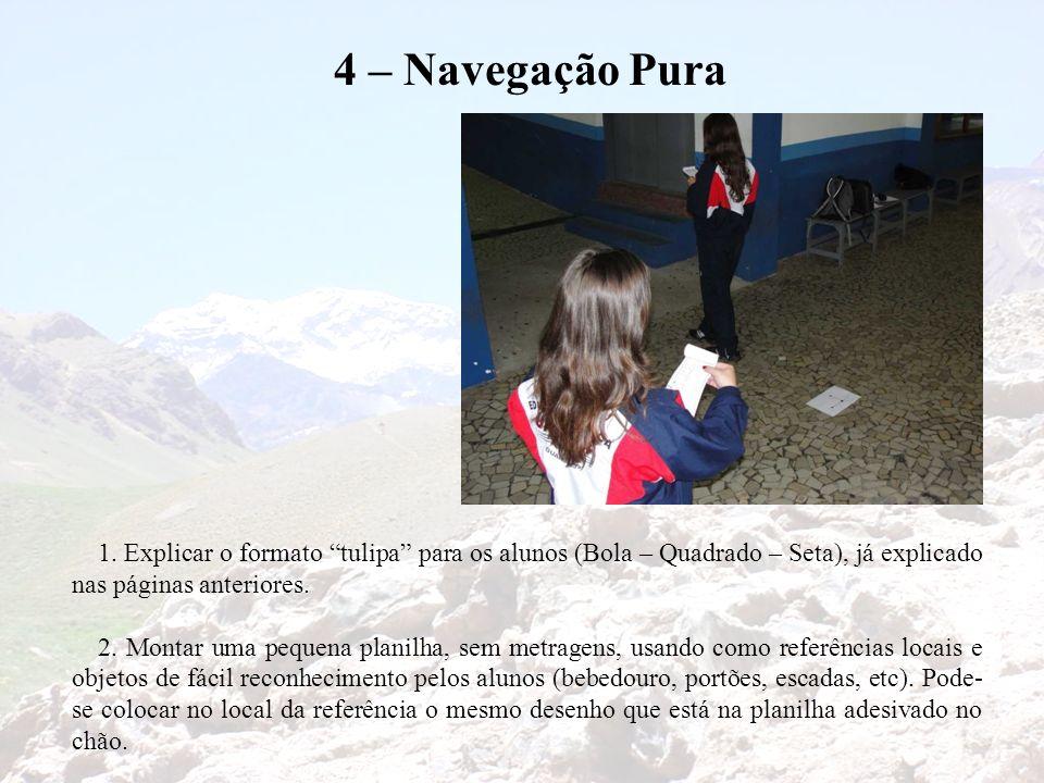 4 – Navegação Pura 1. Explicar o formato tulipa para os alunos (Bola – Quadrado – Seta), já explicado nas páginas anteriores. 2. Montar uma pequena pl