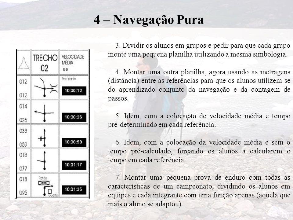 4 – Navegação Pura 3. Dividir os alunos em grupos e pedir para que cada grupo monte uma pequena planilha utilizando a mesma simbologia. 4. Montar uma