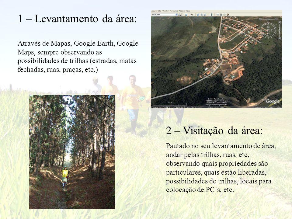 1 – Levantamento da área: Através de Mapas, Google Earth, Google Maps, sempre observando as possibilidades de trilhas (estradas, matas fechadas, ruas,