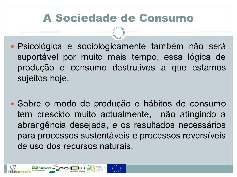 Psicológica e sociologicamente também não será suportável por muito mais tempo, essa lógica de produção e consumo destrutivos a que estamos sujeitos h