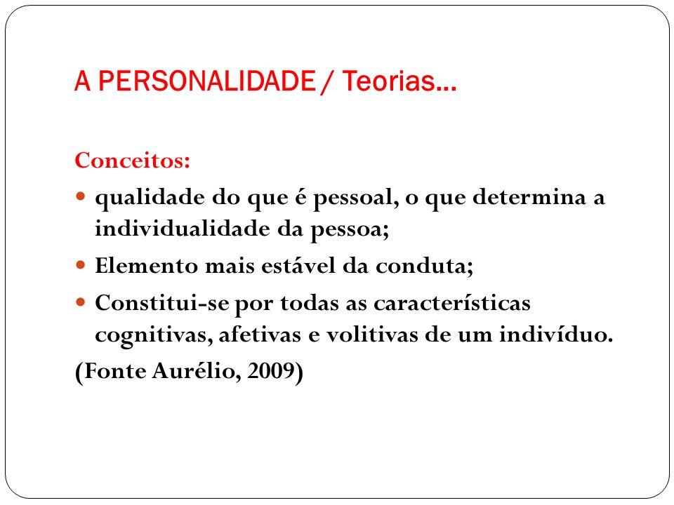 A PERSONALIDADE / Teorias... Conceitos: qualidade do que é pessoal, o que determina a individualidade da pessoa; Elemento mais estável da conduta; Con
