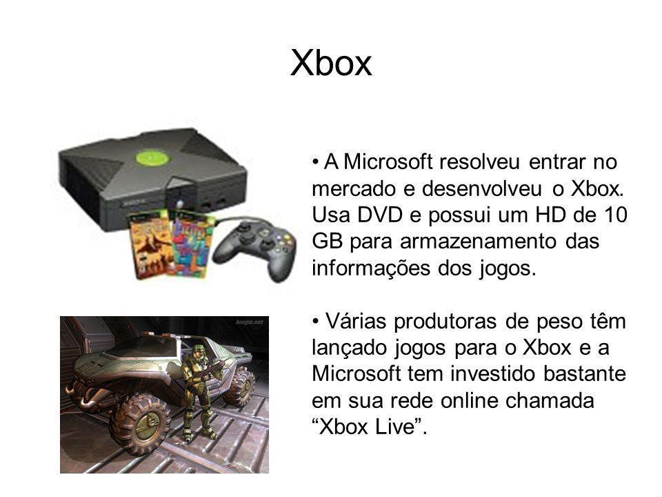 Xbox A Microsoft resolveu entrar no mercado e desenvolveu o Xbox. Usa DVD e possui um HD de 10 GB para armazenamento das informações dos jogos. Várias
