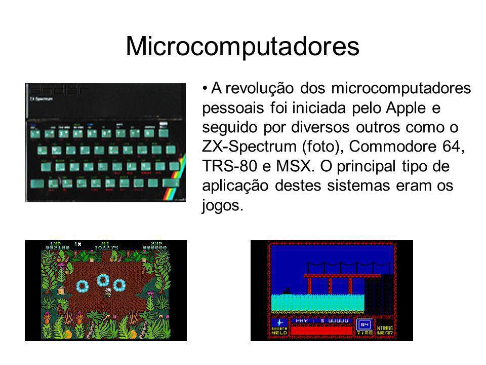 Microcomputadores A revolução dos microcomputadores pessoais foi iniciada pelo Apple e seguido por diversos outros como o ZX-Spectrum (foto), Commodor