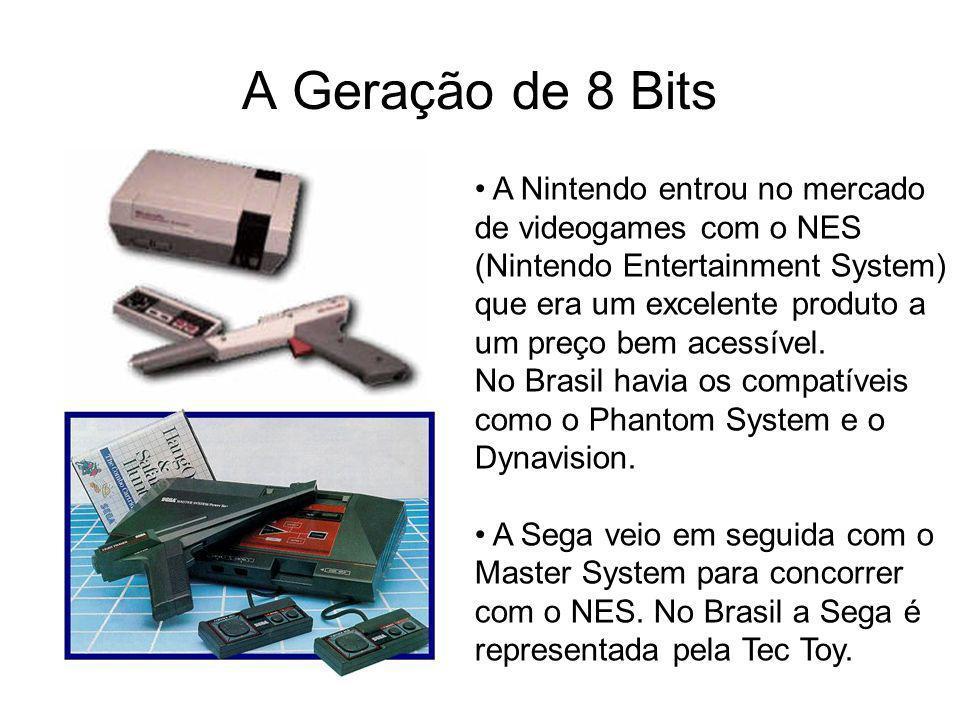 A Geração de 8 Bits A Nintendo entrou no mercado de videogames com o NES (Nintendo Entertainment System) que era um excelente produto a um preço bem a