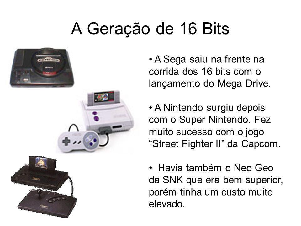 A Geração de 16 Bits A Sega saiu na frente na corrida dos 16 bits com o lançamento do Mega Drive. A Nintendo surgiu depois com o Super Nintendo. Fez m