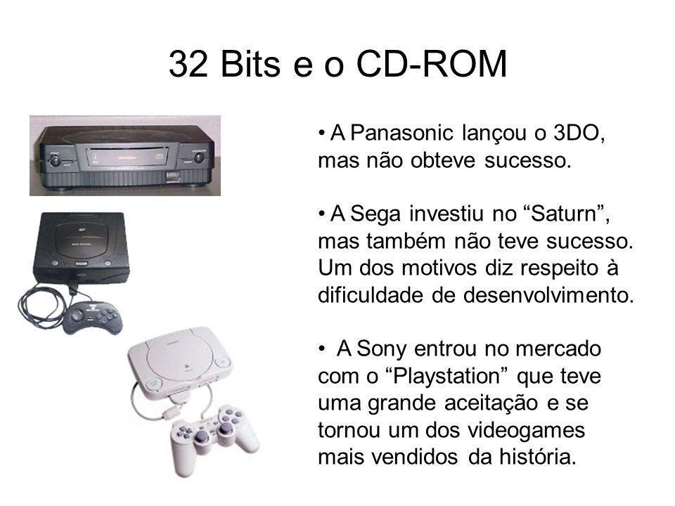 32 Bits e o CD-ROM A Panasonic lançou o 3DO, mas não obteve sucesso. A Sega investiu no Saturn, mas também não teve sucesso. Um dos motivos diz respei