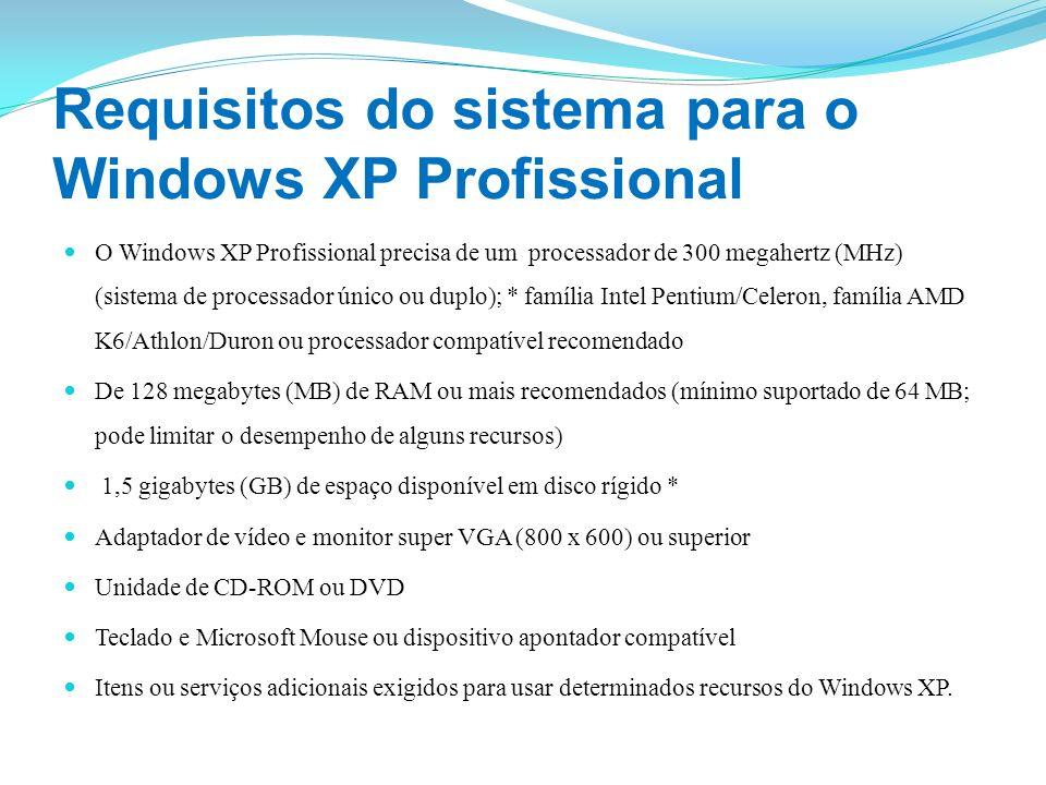 Requisitos do sistema para o Windows XP Profissional O Windows XP Profissional precisa de um processador de 300 megahertz (MHz) (sistema de processado