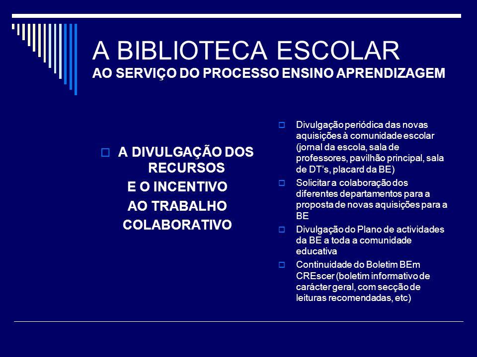 A BIBLIOTECA ESCOLAR AO SERVIÇO DO PROCESSO ENSINO APRENDIZAGEM A DIVULGAÇÃO DOS RECURSOS E O INCENTIVO AO TRABALHO COLABORATIVO Divulgação periódica