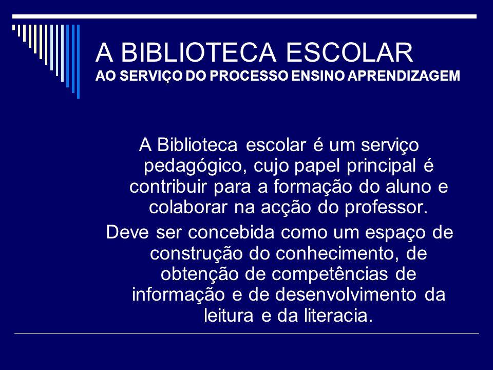 A BIBLIOTECA ESCOLAR AO SERVIÇO DO PROCESSO ENSINO APRENDIZAGEM A Biblioteca escolar é um serviço pedagógico, cujo papel principal é contribuir para a