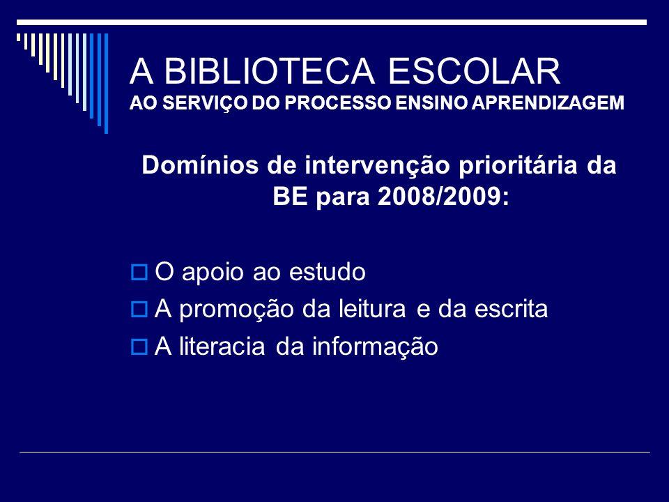 A BIBLIOTECA ESCOLAR AO SERVIÇO DO PROCESSO ENSINO APRENDIZAGEM Domínios de intervenção prioritária da BE para 2008/2009: O apoio ao estudo A promoção