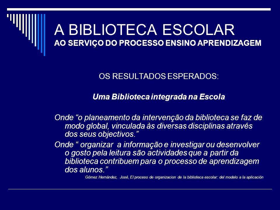 A BIBLIOTECA ESCOLAR AO SERVIÇO DO PROCESSO ENSINO APRENDIZAGEM OS RESULTADOS ESPERADOS: Uma Biblioteca integrada na Escola Onde o planeamento da inte