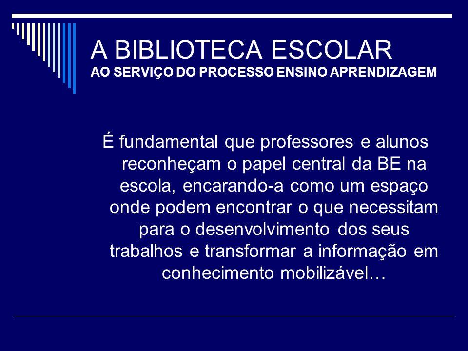 A BIBLIOTECA ESCOLAR AO SERVIÇO DO PROCESSO ENSINO APRENDIZAGEM É fundamental que professores e alunos reconheçam o papel central da BE na escola, enc