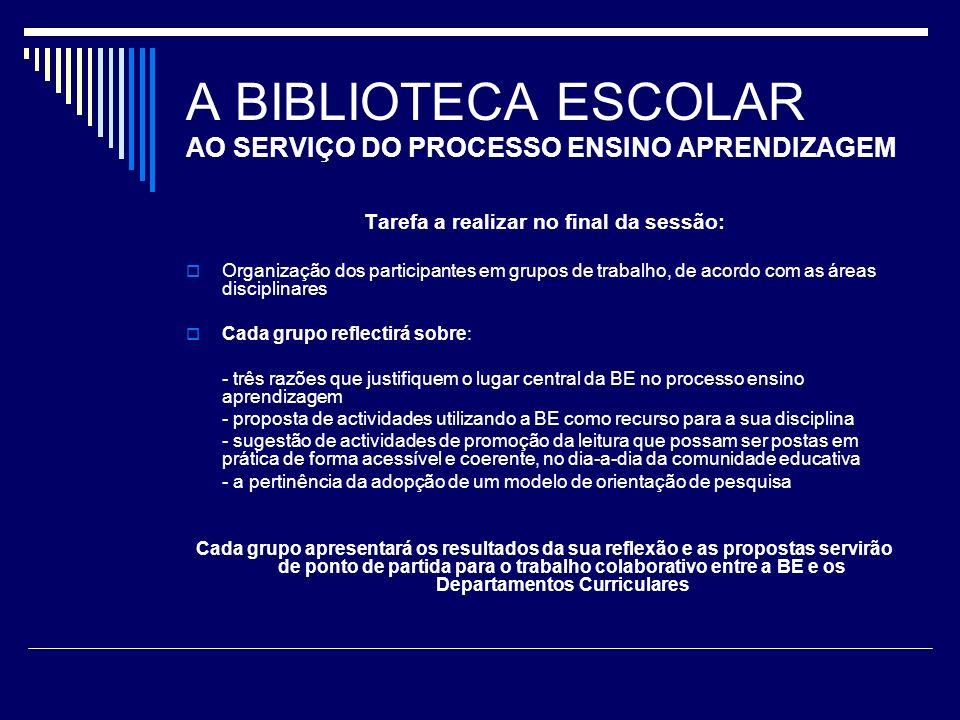 A BIBLIOTECA ESCOLAR AO SERVIÇO DO PROCESSO ENSINO APRENDIZAGEM Tarefa a realizar no final da sessão: Organização dos participantes em grupos de traba