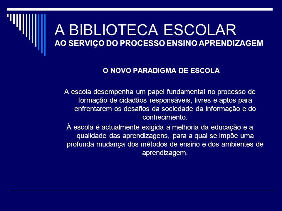 A BIBLIOTECA ESCOLAR AO SERVIÇO DO PROCESSO ENSINO APRENDIZAGEM O NOVO PARADIGMA DE ESCOLA A escola desempenha um papel fundamental no processo de for