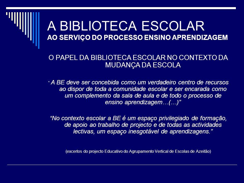 A BIBLIOTECA ESCOLAR AO SERVIÇO DO PROCESSO ENSINO APRENDIZAGEM O PAPEL DA BIBLIOTECA ESCOLAR NO CONTEXTO DA MUDANÇA DA ESCOLA A BE deve ser concebida