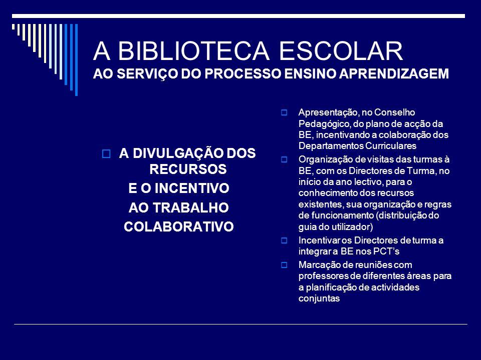 A BIBLIOTECA ESCOLAR AO SERVIÇO DO PROCESSO ENSINO APRENDIZAGEM A DIVULGAÇÃO DOS RECURSOS E O INCENTIVO AO TRABALHO COLABORATIVO Divulgação periódica das novas aquisições à comunidade escolar (jornal da escola, sala de professores, pavilhão principal, sala de DTs, placard da BE) Solicitar a colaboração dos diferentes departamentos para a proposta de novas aquisições para a BE Divulgação do Plano de actividades da BE a toda a comunidade educativa Continuidade do Boletim BEm CREscer (boletim informativo de carácter geral, com secção de leituras recomendadas, etc)