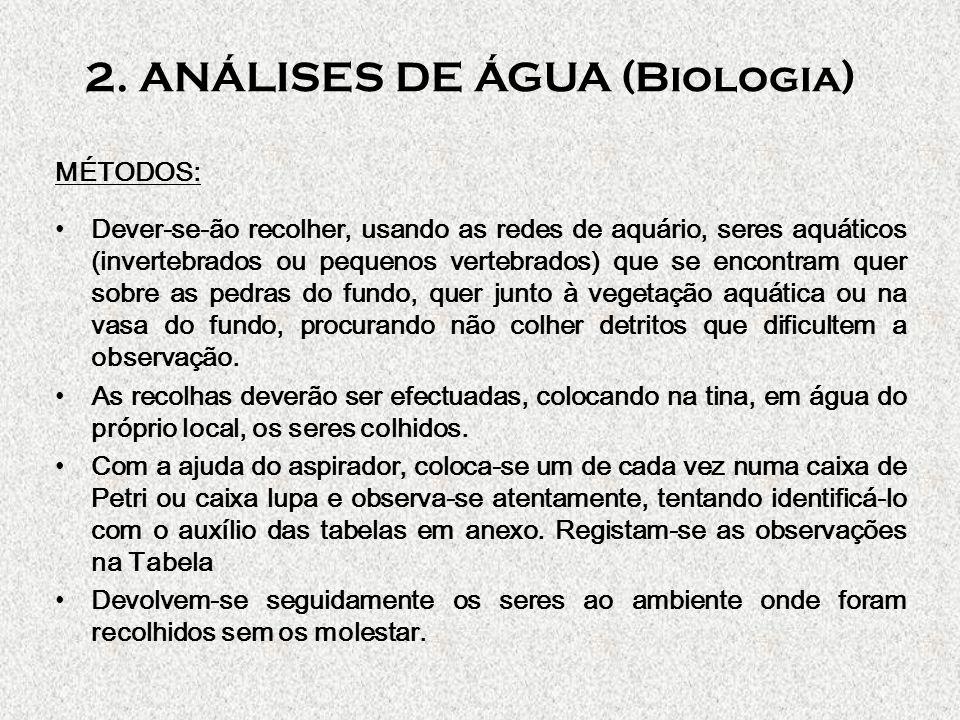 2. ANÁLISES DE ÁGUA (Biologia) MÉTODOS: Dever-se-ão recolher, usando as redes de aquário, seres aquáticos (invertebrados ou pequenos vertebrados) que