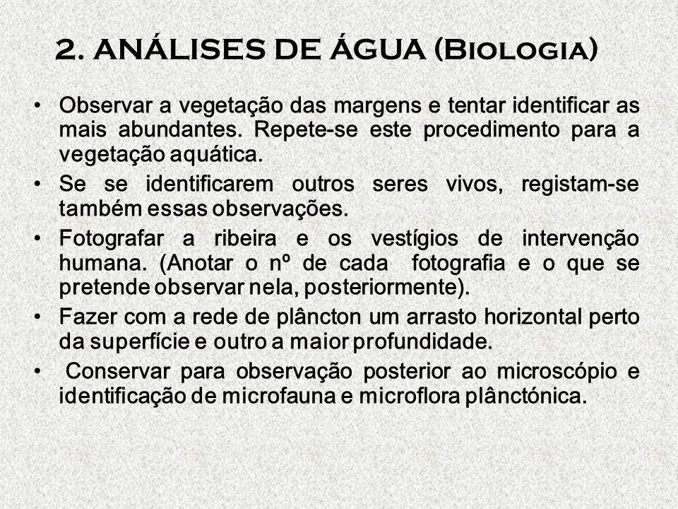 TABELA DE REGISTOS Seres aquáticos bioindicadores Vegetação aquática (presente ou ausente) Vegetação das margens Outros registos Estação A Estação B Estação C