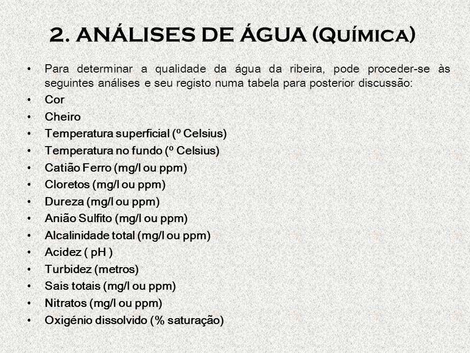 2. ANÁLISES DE ÁGUA (Química) Para determinar a qualidade da água da ribeira, pode proceder-se às seguintes análises e seu registo numa tabela para po