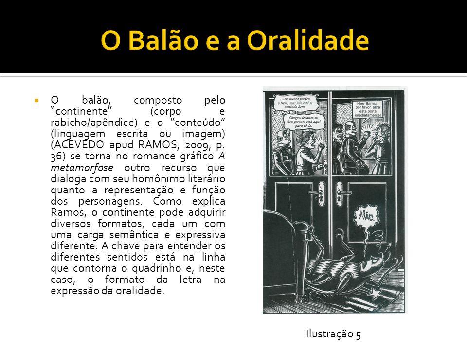 O balão, composto pelo continente (corpo e rabicho/apêndice) e o conteúdo (linguagem escrita ou imagem) (ACEVEDO apud RAMOS, 2009, p. 36) se torna no