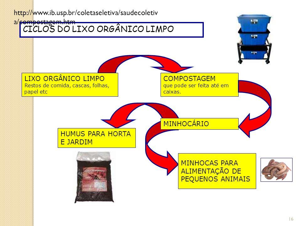 16 CICLOS DO LIXO ORGÂNICO LIMPO LIXO ORGÂNICO LIMPO Restos de comida, cascas, folhas, papel etc COMPOSTAGEM que pode ser feita até em caixas. MINHOCÁ