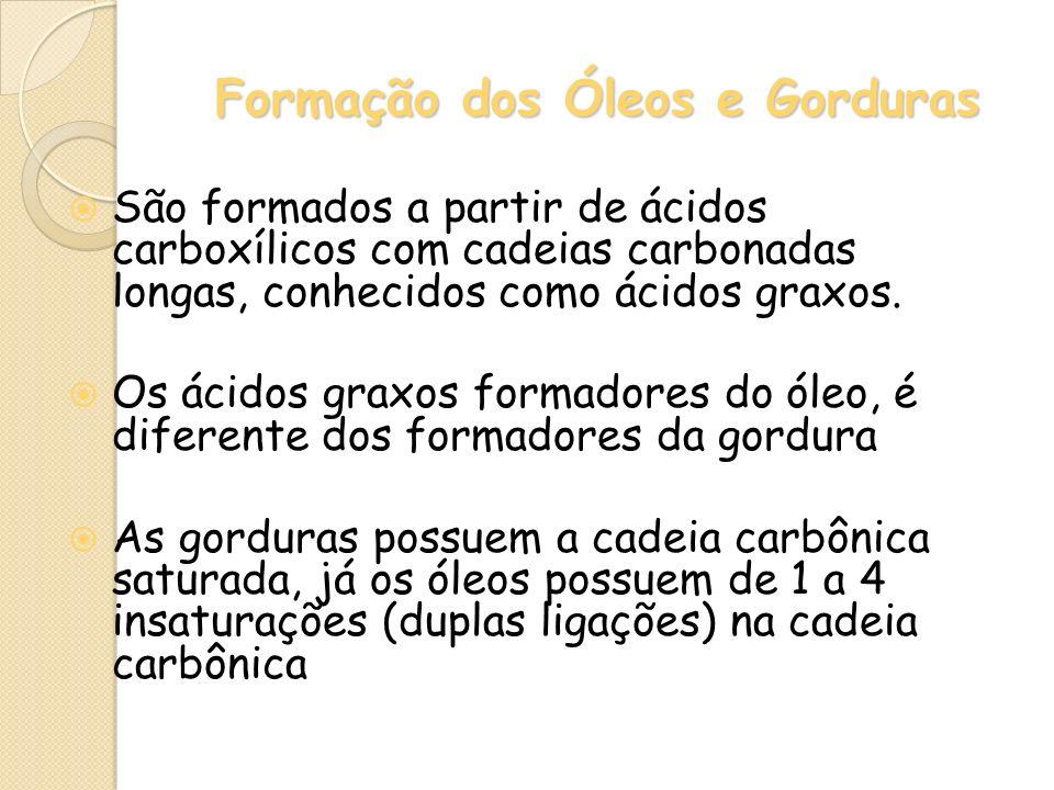 Formação dos Óleos e Gorduras São formados a partir de ácidos carboxílicos com cadeias carbonadas longas, conhecidos como ácidos graxos. Os ácidos gra