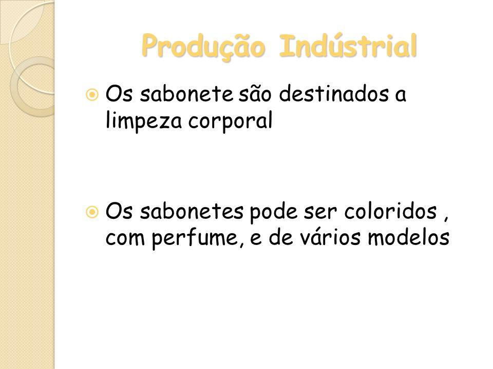 Produção Indústrial Os sabonete são destinados a limpeza corporal Os sabonetes pode ser coloridos, com perfume, e de vários modelos
