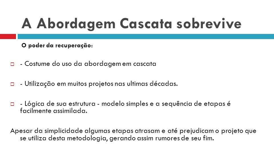 A Abordagem Cascata sobrevive - Costume do uso da abordagem em cascata - Utilização em muitos projetos nas ultimas décadas. - Lógica de sua estrutura