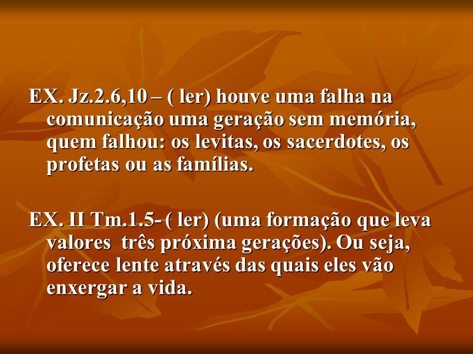 EX. Jz.2.6,10 – ( ler) houve uma falha na comunicação uma geração sem memória, quem falhou: os levitas, os sacerdotes, os profetas ou as famílias. EX.