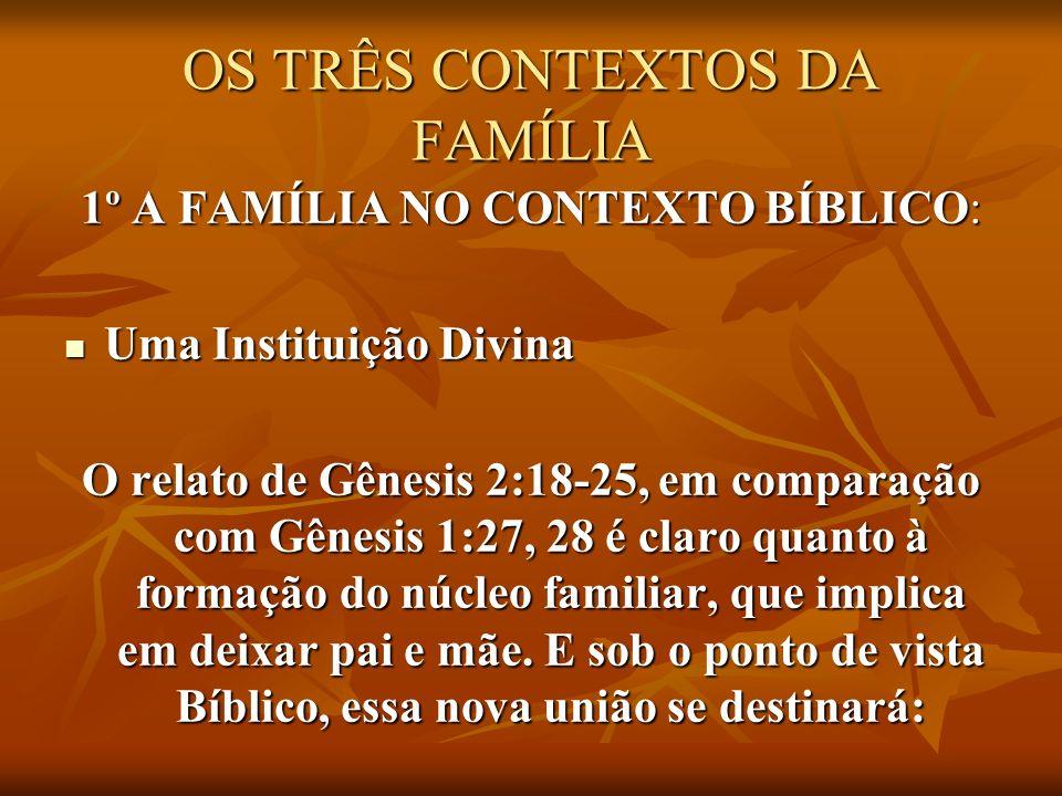 OS TRÊS CONTEXTOS DA FAMÍLIA 1º A FAMÍLIA NO CONTEXTO BÍBLICO: Uma Instituição Divina Uma Instituição Divina O relato de Gênesis 2:18-25, em comparaçã