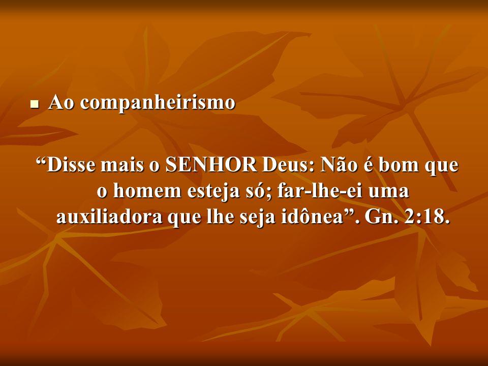 Ao companheirismo Ao companheirismo Disse mais o SENHOR Deus: Não é bom que o homem esteja só; far-lhe-ei uma auxiliadora que lhe seja idônea. Gn. 2:1