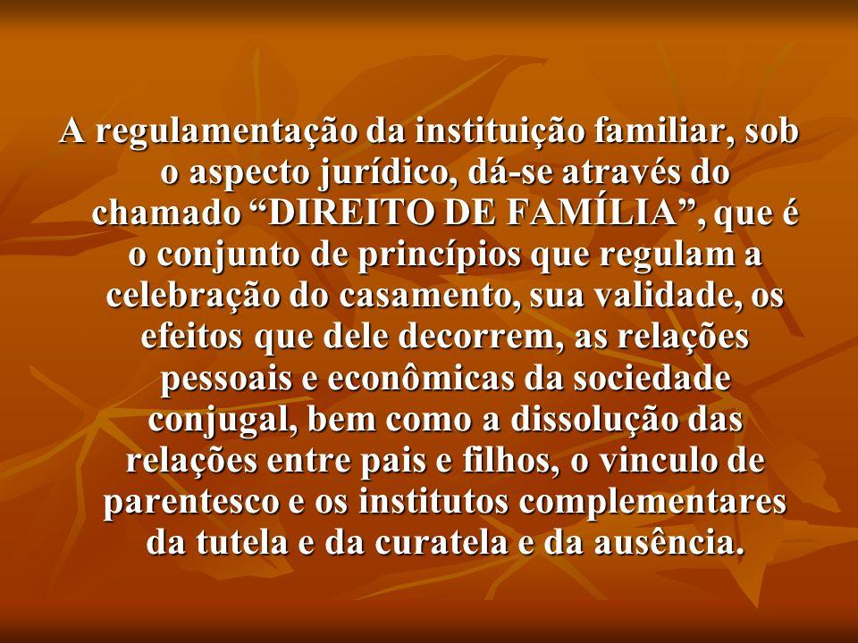 A regulamentação da instituição familiar, sob o aspecto jurídico, dá-se através do chamado DIREITO DE FAMÍLIA, que é o conjunto de princípios que regu