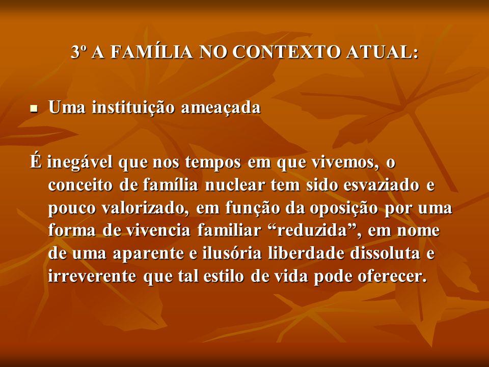 3º A FAMÍLIA NO CONTEXTO ATUAL: Uma instituição ameaçada Uma instituição ameaçada É inegável que nos tempos em que vivemos, o conceito de família nucl