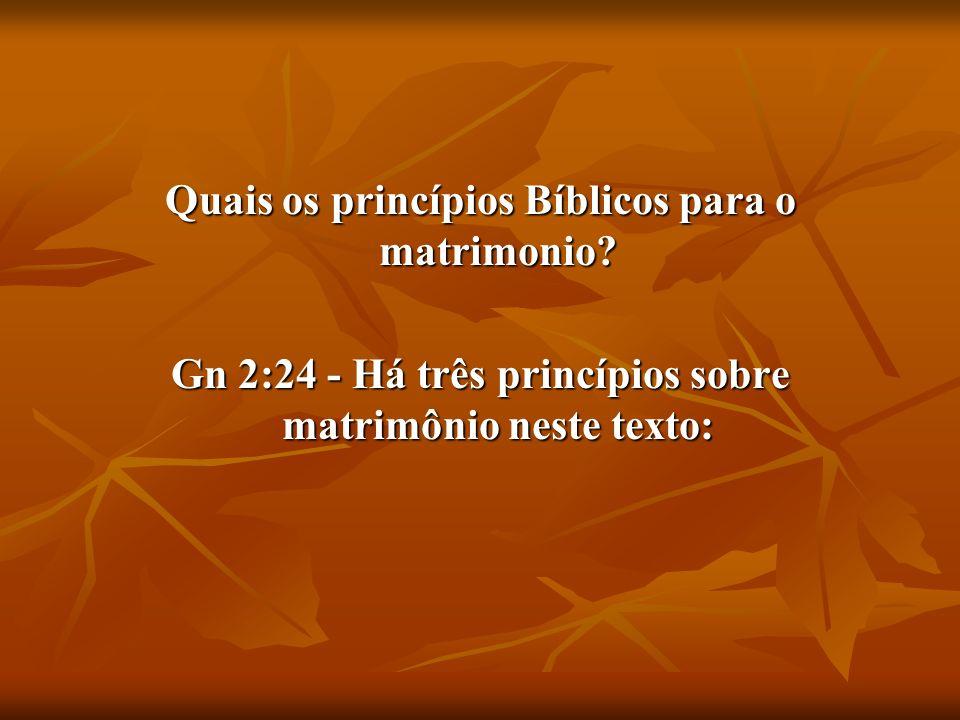 Quais os princípios Bíblicos para o matrimonio? Gn 2:24 - Há três princípios sobre matrimônio neste texto: