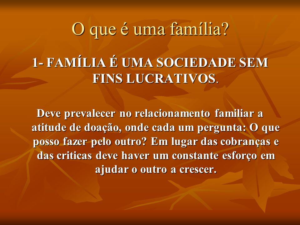O que é uma família? 1- FAMÍLIA É UMA SOCIEDADE SEM FINS LUCRATIVOS. Deve prevalecer no relacionamento familiar a atitude de doação, onde cada um perg