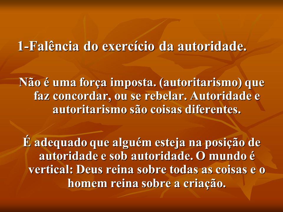 1-Falência do exercício da autoridade. Não é uma força imposta. (autoritarismo) que faz concordar, ou se rebelar. Autoridade e autoritarismo são coisa