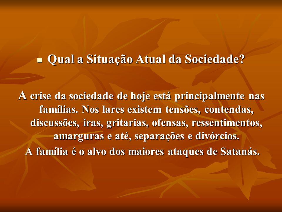 Qual a Situação Atual da Sociedade? Qual a Situação Atual da Sociedade? A crise da sociedade de hoje está principalmente nas famílias. Nos lares exist