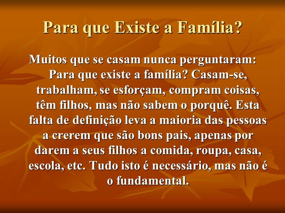 Para que Existe a Família? Muitos que se casam nunca perguntaram: Para que existe a família? Casam-se, trabalham, se esforçam, compram coisas, têm fil