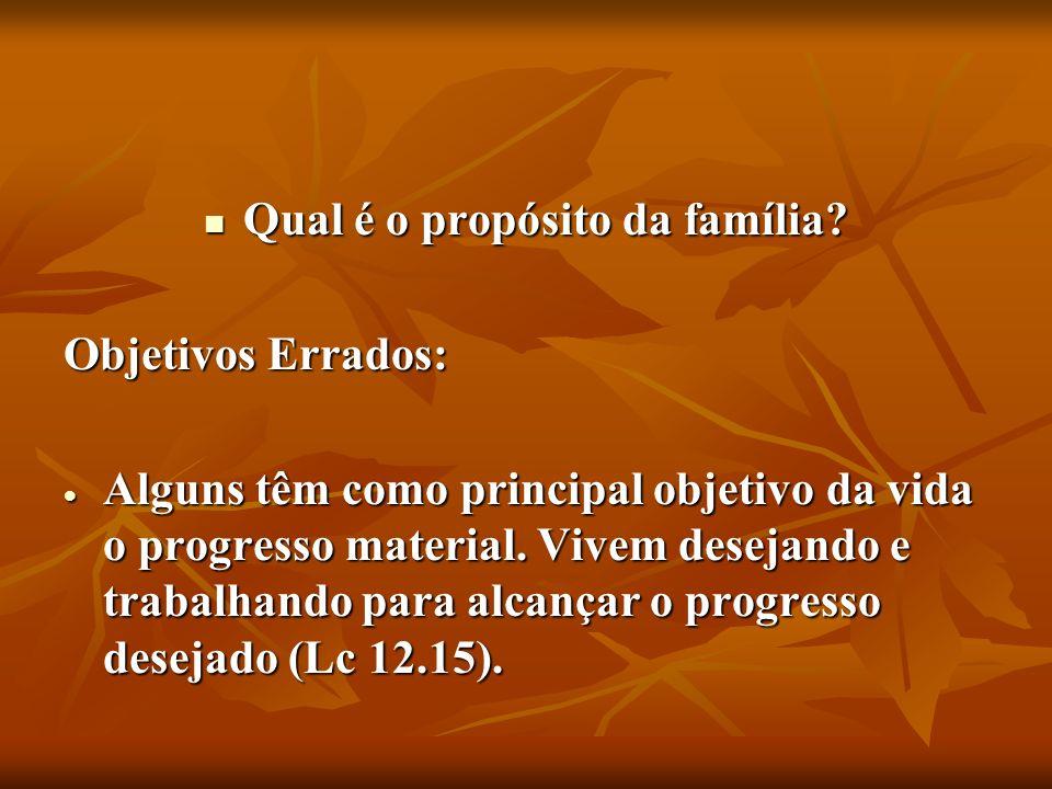 Qual é o propósito da família? Qual é o propósito da família? Objetivos Errados: Alguns têm como principal objetivo da vida o progresso material. Vive