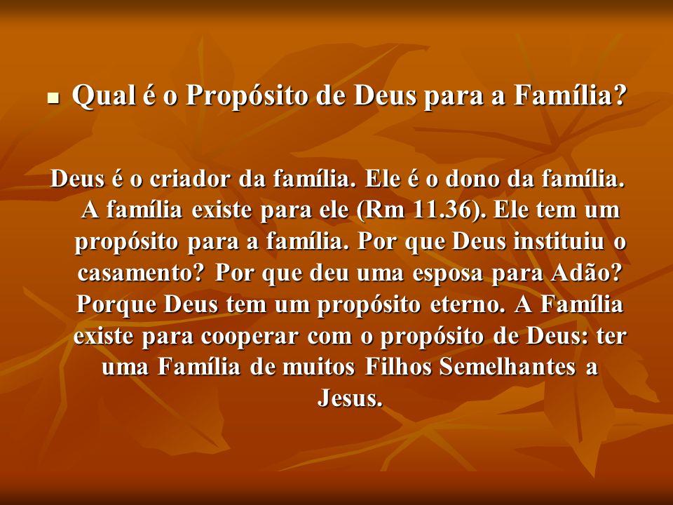 Qual é o Propósito de Deus para a Família? Qual é o Propósito de Deus para a Família? Deus é o criador da família. Ele é o dono da família. A família