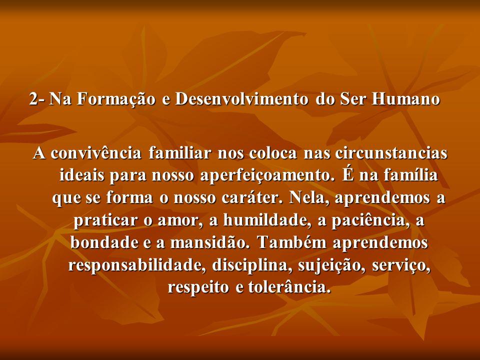 2- Na Formação e Desenvolvimento do Ser Humano A convivência familiar nos coloca nas circunstancias ideais para nosso aperfeiçoamento. É na família qu