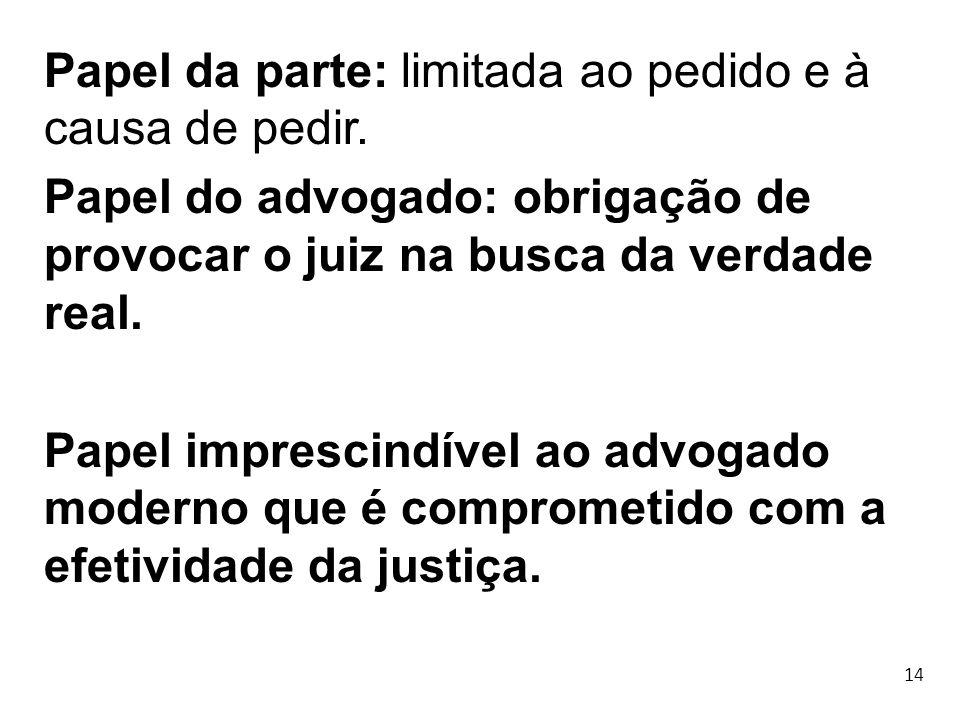 14 Papel da parte: limitada ao pedido e à causa de pedir. Papel do advogado: obrigação de provocar o juiz na busca da verdade real. Papel imprescindív