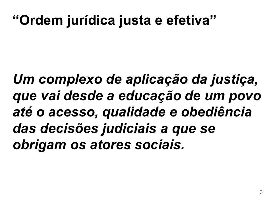 3 Ordem jurídica justa e efetiva Um complexo de aplicação da justiça, que vai desde a educação de um povo até o acesso, qualidade e obediência das dec