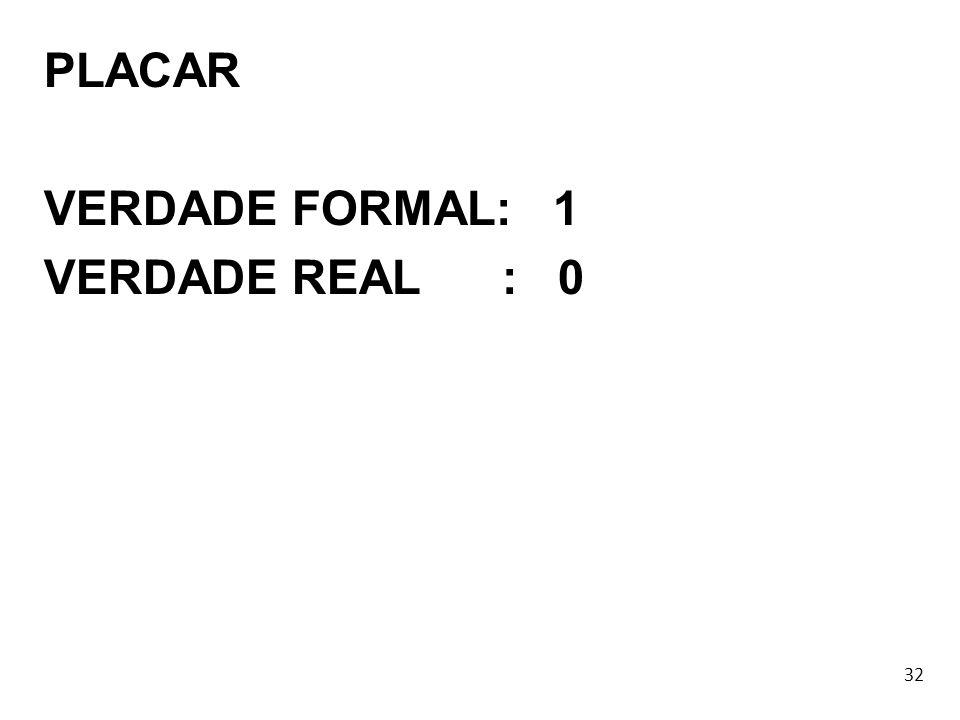 32 PLACAR VERDADE FORMAL: 1 VERDADE REAL : 0