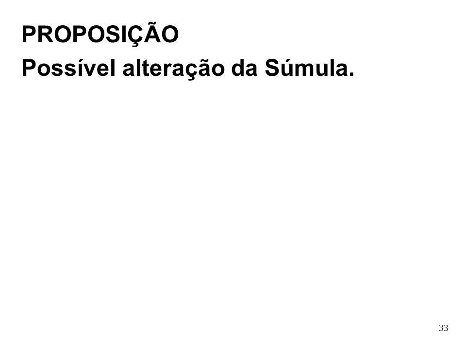33 PROPOSIÇÃO Possível alteração da Súmula.