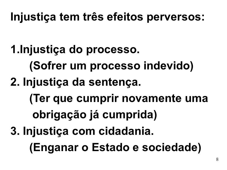 8 Injustiça tem três efeitos perversos: 1.Injustiça do processo. (Sofrer um processo indevido) 2. Injustiça da sentença. (Ter que cumprir novamente um